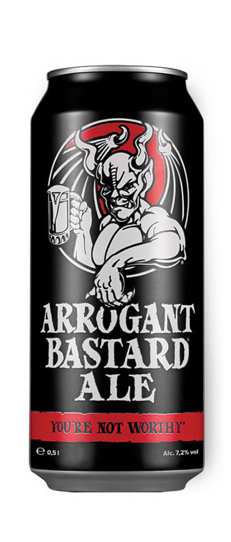 Arrogant Bastard ale can shot 50cl Malta Brew Haus
