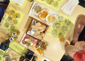 craft beer tasting set table
