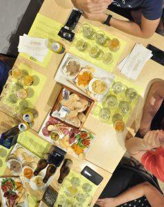 aerial view of beer tasting table